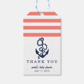 Baby Shower Favor Tags | Coral Nautical Stripe