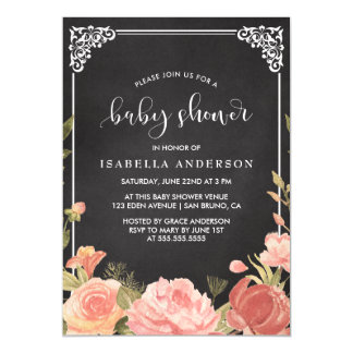 Baby Shower | Floral Bouquet & Frame on Chalkboard Magnetic Invitations