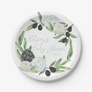 Baby Shower Floral Rustic and Romantic Gardenia Paper Plate