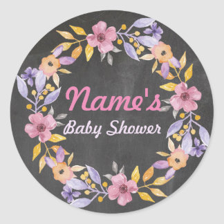 Baby Shower Flower Wreath Pink Chalk Girl Sticker