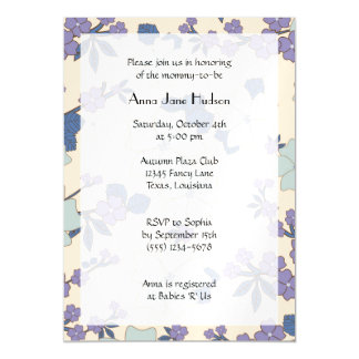 Baby Shower - Flowers, Blossoms - Blue Purple Magnetic Invitations