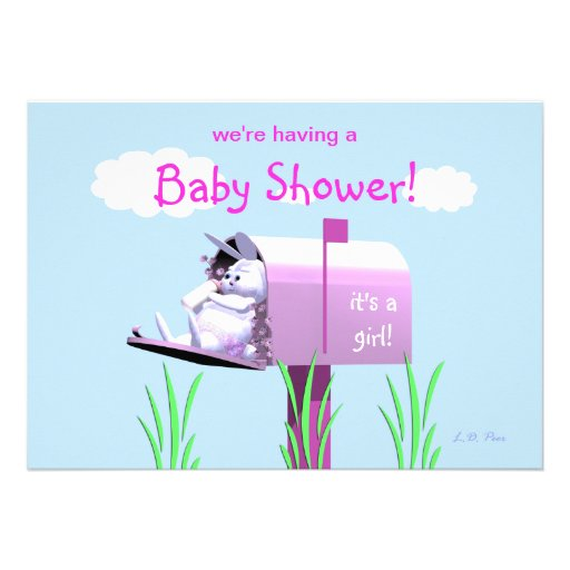 Baby Shower for Girl - Bunny In Mailbox Personalized Invite