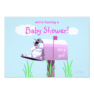"Baby Shower for Girl - Bunny In Mailbox 5"" X 7"" Invitation Card"