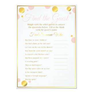 """Baby Shower Game """"Find the Guest"""" Pink and Gold Card"""