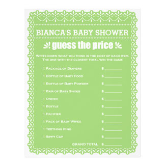 Baby Shower Game in Green Papel Picado 21.5 Cm X 28 Cm Flyer