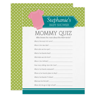 Baby Shower Game - Mommy Quiz Pink Girl Polka Dots Card