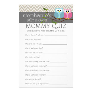 Baby Shower Game - Who Knows Mommy Best Quiz Customized Stationery