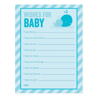 Baby Shower Game - Wishes for Baby - Blue Whale Post Card