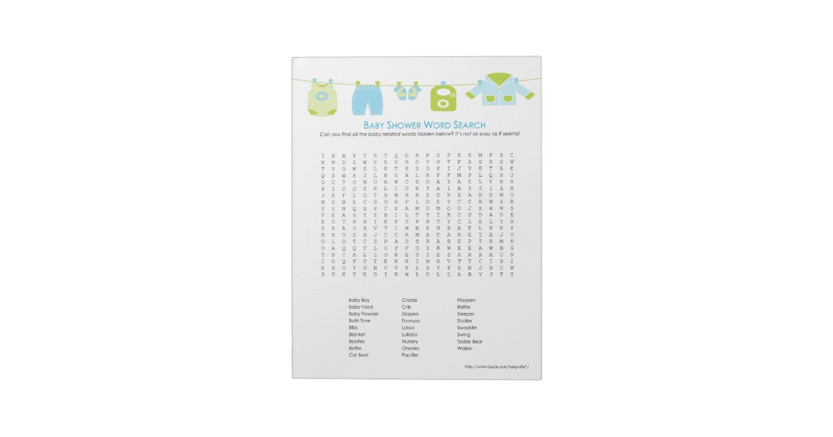 Baby Shower Game Word Search Notepad Blue Zazzle