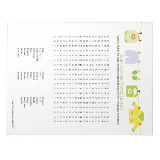 Baby Shower Game Word Search Notepad (Neutral)