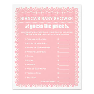 Baby Shower Games in Pink Papel Picado 11.5 Cm X 14 Cm Flyer