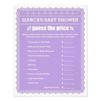 Baby Shower Games in Purple Papel Picado 11.5 Cm X 14 Cm Flyer