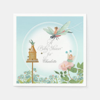 Baby Shower Garden Party Fairy Floral Bee Theme Paper Napkins