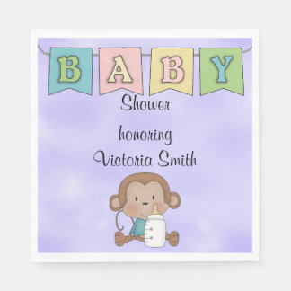 Baby Shower Gender Neutral Monkey Disposable Napkin
