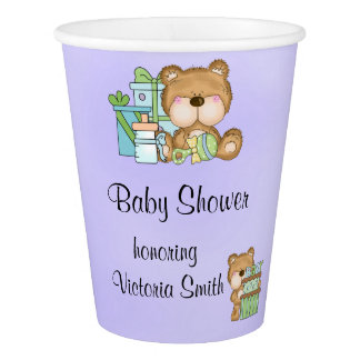 Baby Shower Gender Neutral Teddy Bear Paper Cup