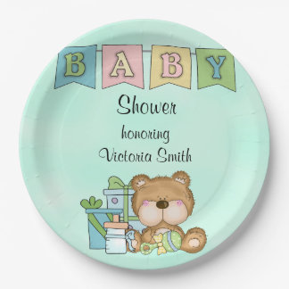 Baby Shower Gender Neutral Teddy Bear Paper Plate