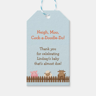 Baby Shower Gift Tag with Farm Animals