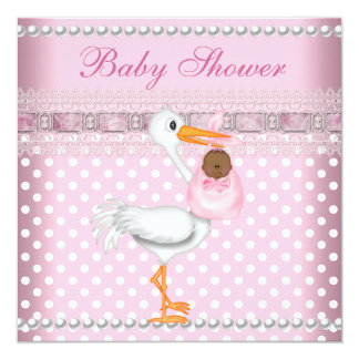 """Baby Shower Girl Baby Pink Spot Pearl Stork AA 5.25"""" Square Invitation Card"""