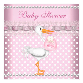 Baby Shower Girl Baby Pink Spot Pearl Stork Invites