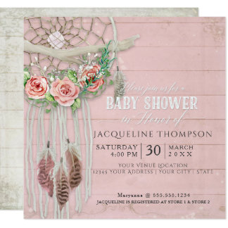 Baby Shower Girl BOHO Dream Catcher Wood Feather Card