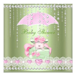 Baby Shower Girl Boy Baby Pink Mint Umbrella Pearl Custom Announcement