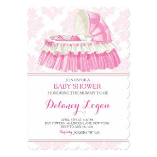 Baby Shower Girl Damask Bassinet Invitation