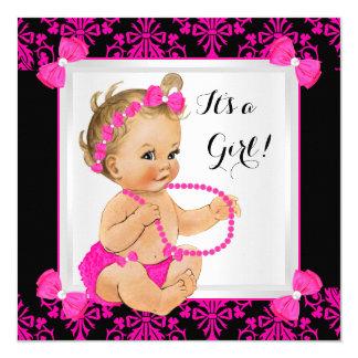 Baby Shower Girl Damask Hot Pink Black Blonde 13 Cm X 13 Cm Square Invitation Card