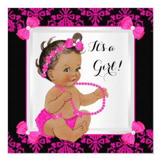 Baby Shower Girl Damask Hot Pink Black Brunette Card