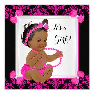 Baby Shower Girl Damask Hot Pink Black Ethnic 13 Cm X 13 Cm Square Invitation Card