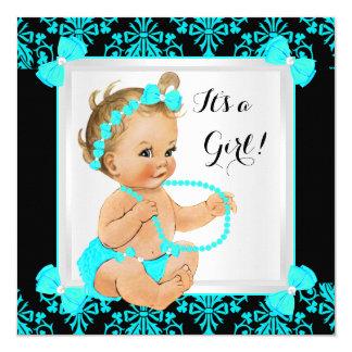 Baby Shower Girl Damask Teal Blue Black Blonde 13 Cm X 13 Cm Square Invitation Card