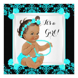 Baby Shower Girl Damask Teal Blue Black Brunette 13 Cm X 13 Cm Square Invitation Card