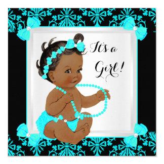 Baby Shower Girl Damask Teal Blue Black Ethnic 13 Cm X 13 Cm Square Invitation Card
