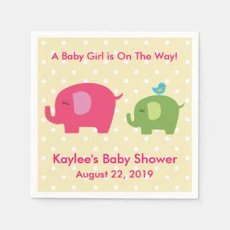 Baby Shower Girl Elephant Polka Dot Napkins Disposable Serviettes