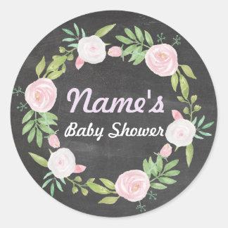 Baby Shower Girl Flower Wreath Pink Chalk Sticker