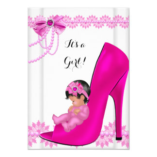 Baby Shower Girl Hot Pink Baby Shoe Lace 2 13 Cm X 18 Cm Invitation Card