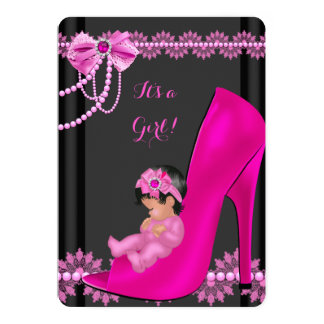 Baby Shower Girl Hot Pink Baby Shoe Lace 3 13 Cm X 18 Cm Invitation Card