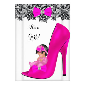 Baby Shower Girl Hot Pink Baby Shoe Lace 13 Cm X 18 Cm Invitation Card