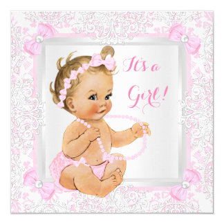 Baby Shower Girl Lace Damask Pink Blonde 13 Cm X 13 Cm Square Invitation Card