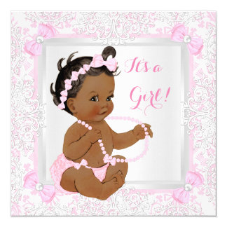 Baby Shower Girl Lace Damask Pink Ethnic 13 Cm X 13 Cm Square Invitation Card
