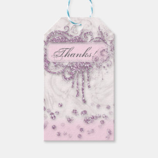 Baby Shower Girl Marble Pink Glitter Thank You