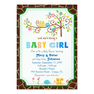 Baby Shower girl, modern, chic, classy, colorful. Card