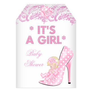 """Baby Shower Girl Pink Baby Shoe Lace Blonde 5"""" X 7"""" Invitation Card"""