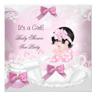 Baby Shower Girl Pink Baby Teacup Cupcake Card