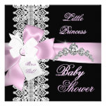 Baby Shower Girl Pink Black White Lace Personalized Invite