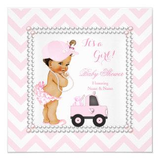 Baby Shower Girl Pink Cap Truck Bear Brunette Card