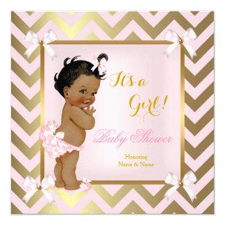 Baby Shower Girl Pink Gold Chevron Ethnic 13 Cm X 13 Cm Square Invitation Card