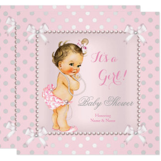 Baby Shower Girl Pink Gray Pearl Brunette Card