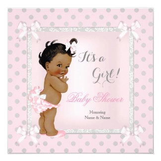 Baby Shower Girl Pink Gray Polka Dot Ethnic 13 Cm X 13 Cm Square Invitation Card