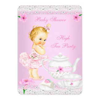 Baby Shower Girl Pink High Tea Party Blonde 11 Cm X 16 Cm Invitation Card