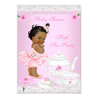 Baby Shower Girl Pink High Tea Party Ethnic 11 Cm X 16 Cm Invitation Card